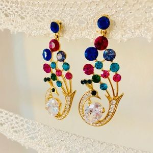 Faux gold peacock statement earrings